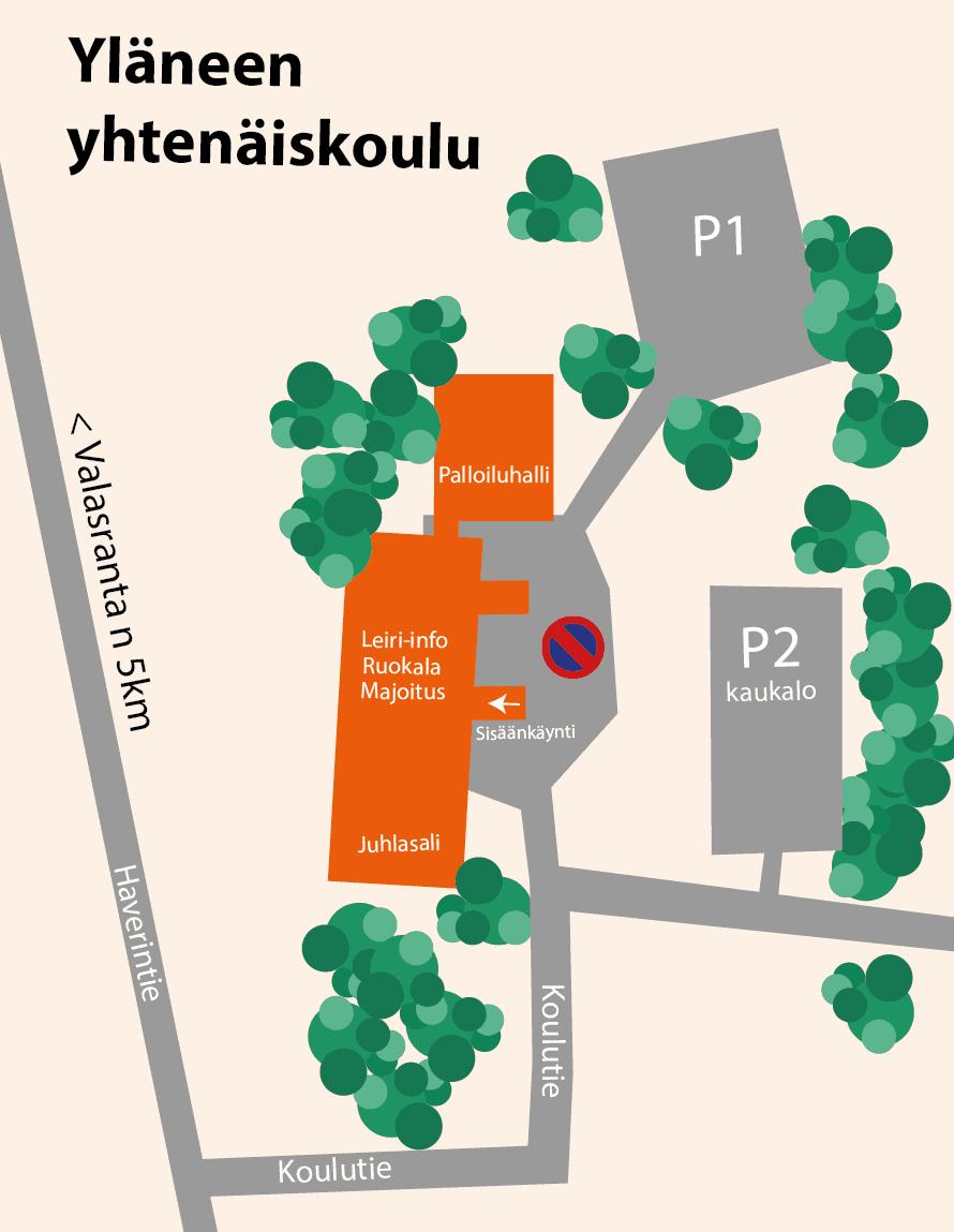 Valasrannan tanssileiri - aluekartta Yläneen yhtenäiskoulu