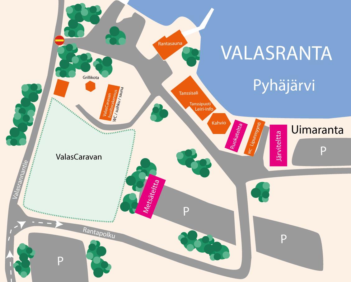 Valasrannan tanssileiri - aluekartta Valasranta
